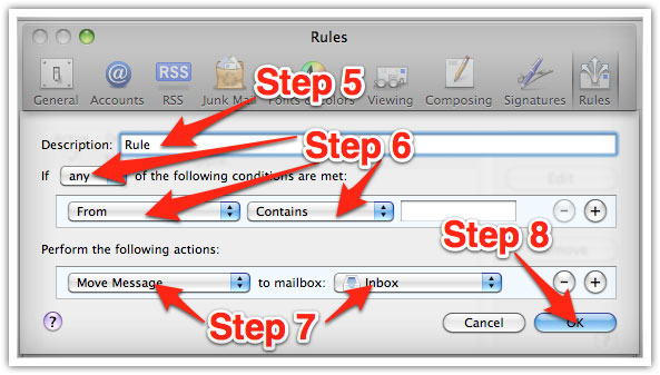 creating a whitelist rule in Mac Mail