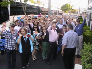 A picture showing the participants getting prepared to embarc on the brisbane property adventure bus trip