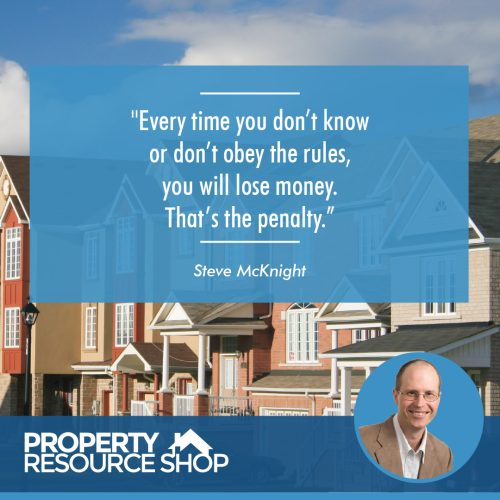 Image of a steve mcknight's quote about knowing and obeying the rules and a picture of a house in the background