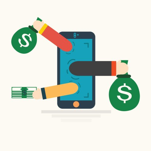 Image of a mobile phone with bags of cash comming in and going out of it - Represents that having an app to book expenses is key to manage cashflow