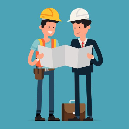 """Two men discussing the blueprint of a construction - represents that """"Do I need to hire a town planner?"""" is another subdivision frequently asked question"""